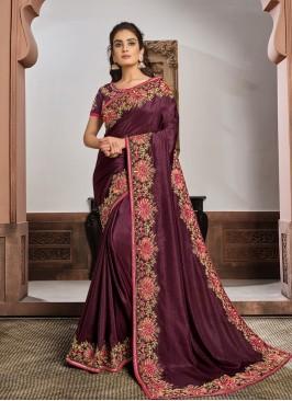 Wine Color Silk Georgette Fancy Saree