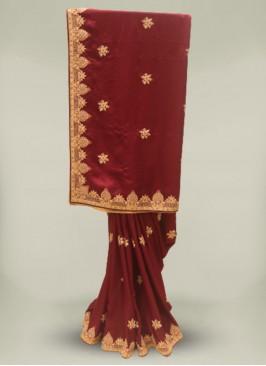 Wine Color Silk Gota Patti Wedding Wear Saree