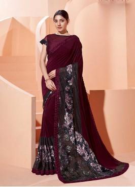 Wine Color Silk Saree For Ladies
