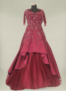 Wine Color Silk Sequins Work Gown