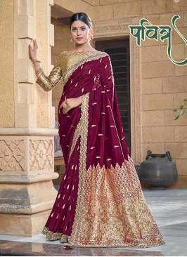 Wine Color Silk Zari Work Saree