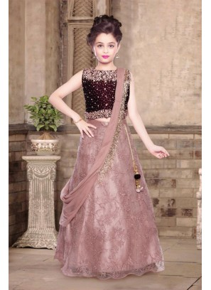 Wine Color Velvet Kids Lehenga