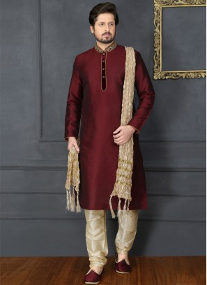 Wine Embroidered Kurta Pajama