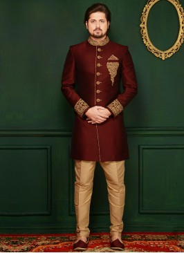 Wine Handwork Sherwani In Art Banarasi Silk Fabric