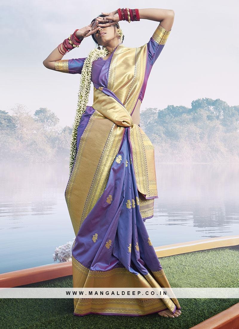 Woven Work Silk Saree In Purple Color
