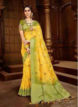 Yellow And Green Color Silk Festival Wear Saree