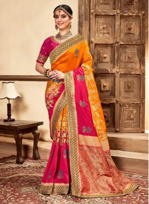 Yellow And Pink Color Banarasi Silk Saree