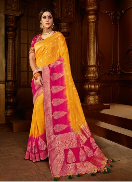 Yellow And Pink Color Designer Saree