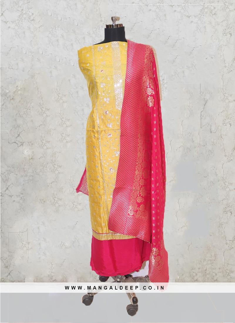 Yellow Chanderi Silk Hand Work Salwar Kameez