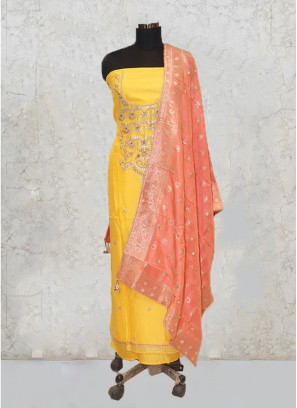 Yellow Chanderi Silk Hand Work Salwar Kameez