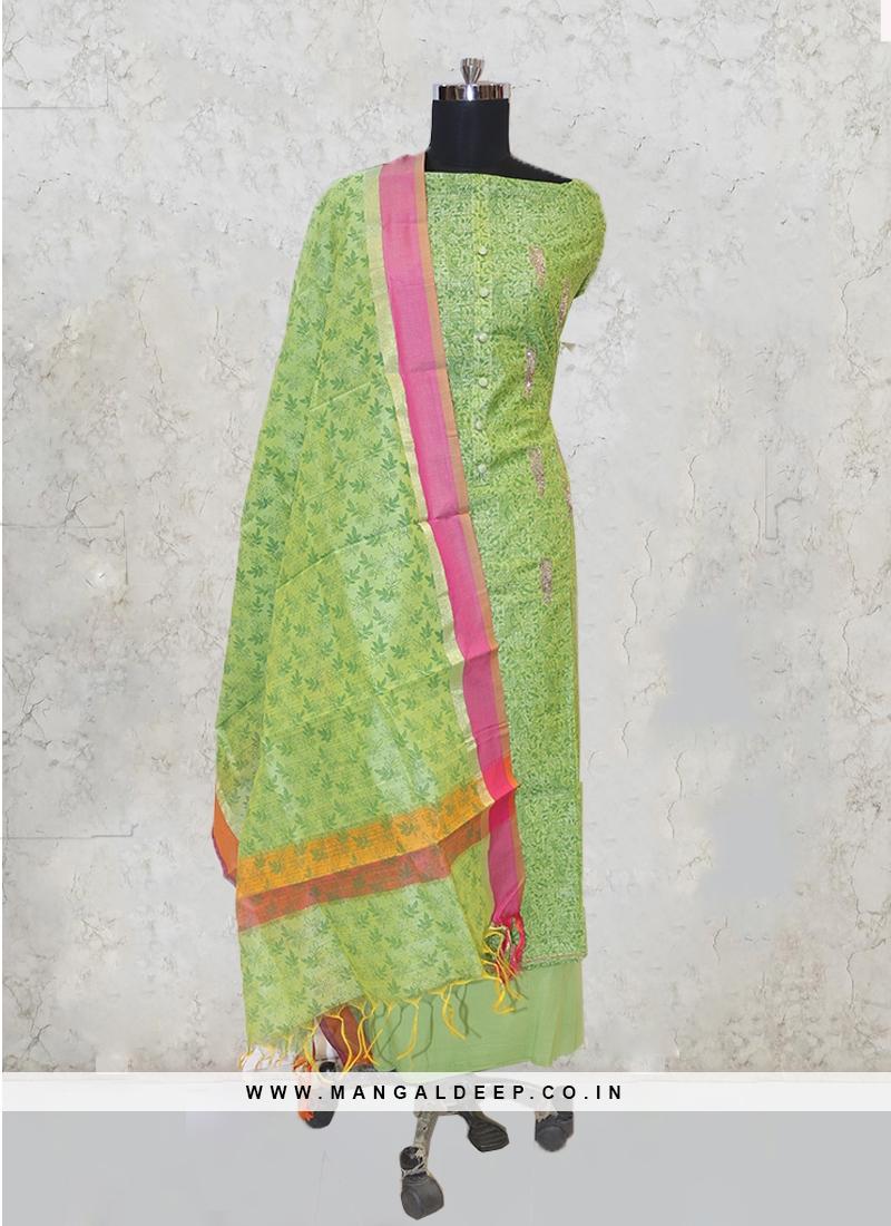 Yellow Chanderi Silk Zari And Stone Salwar Kameez