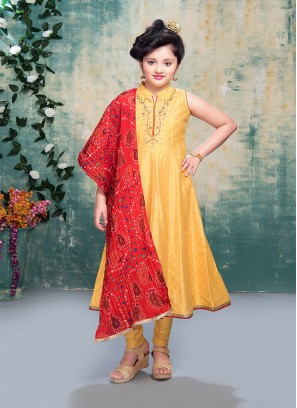 Yellow Color Art Silk Baby Girl Salwar Suit