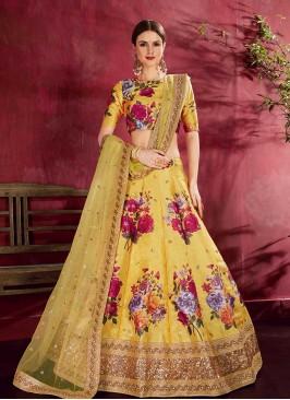 Yellow Color Art Silk Floral Lehenga
