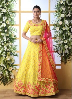 Yellow Color Art Silk Haldi Wear Lehenga