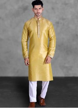 Yellow Color Art Silk Kurta Set