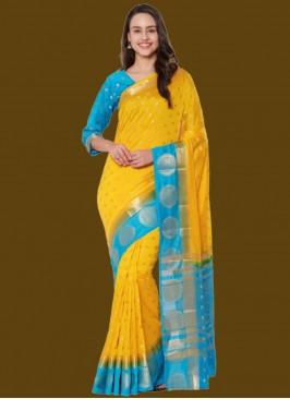 Yellow Color Banarasi Saree Online