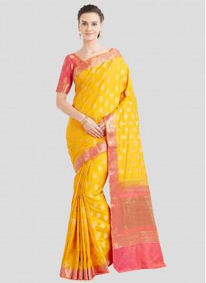 Yellow Color Banarasi Silk Saree For Ladies