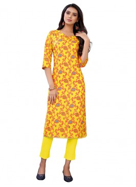 Yellow Color Casual Wear Floral Print Kurti
