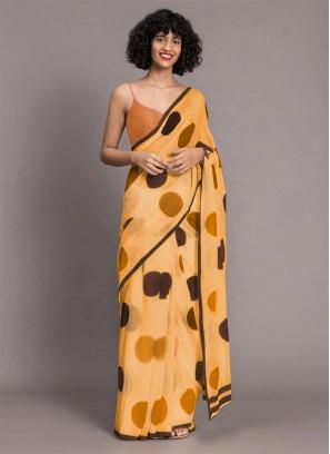 Yellow Color Chanderi Printed Saree