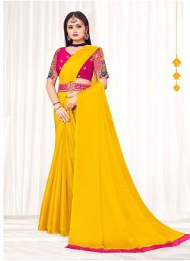 Yellow Color Chiffon Party Wear Saree