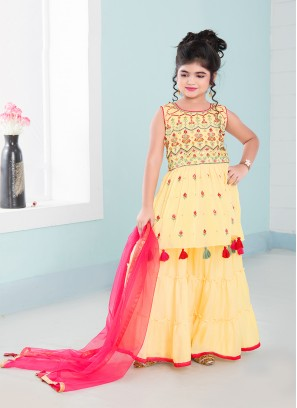 Yellow Color Chinnon Resham Work Little Girl Gharara