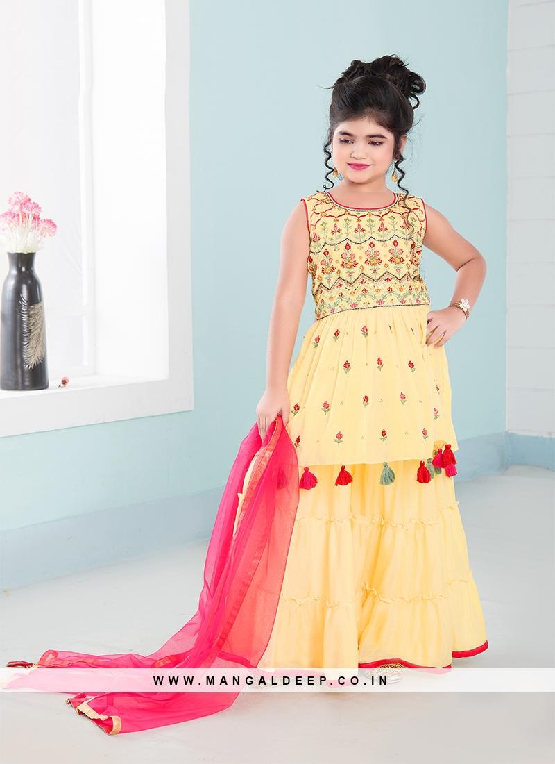 Yellow Color Chinnon Resham Work Little Girl Gharara
