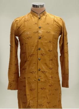 Yellow Color Cotton And Silk Mens Kurta