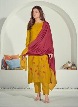 Yellow Color Cotton Kurti Pant