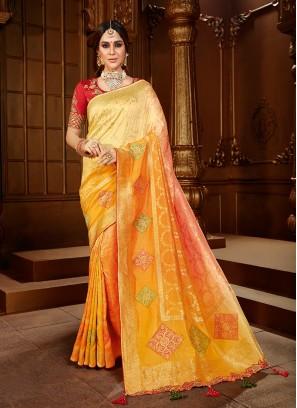Yellow Color Dola Silk Bride Saree