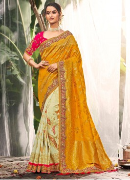 Yellow Color Dola Silk Fancy Saree