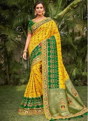 Yellow Color Dola Silk Latest Design Saree