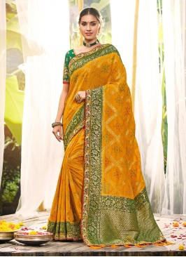 Yellow Color Dola Silk Stylish Saree