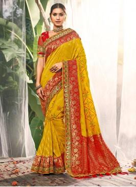 Yellow Color Dola Silk Wedding Saree