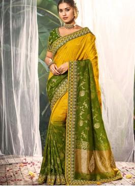Yellow Color Dola Silk Wedding Wear Saree
