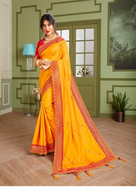 Yellow Color Embroidered Haldi Wear Saree