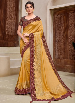 Yellow Color Fancy Party Wear Saree