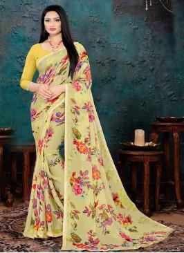 Yellow Color Floral Print Saree