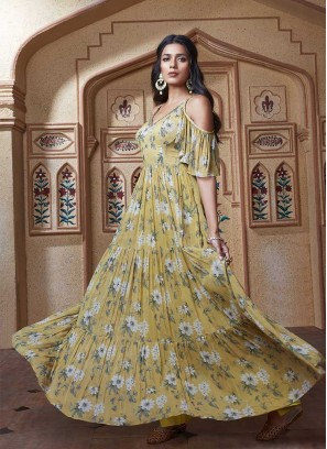 Yellow Color Flower Pattern Dress