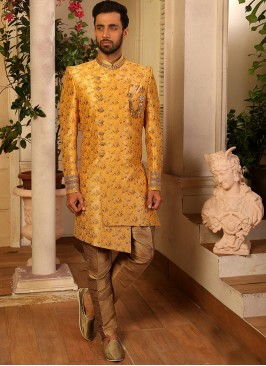 Yellow Color Function Wear Indo Western Suit