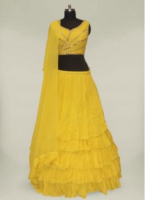 Yellow Color Georgette Haldi Lehenga