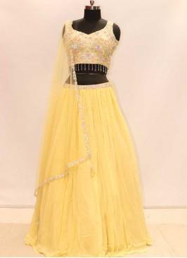 Yellow Color Georgette Haldi Wear Lehenga