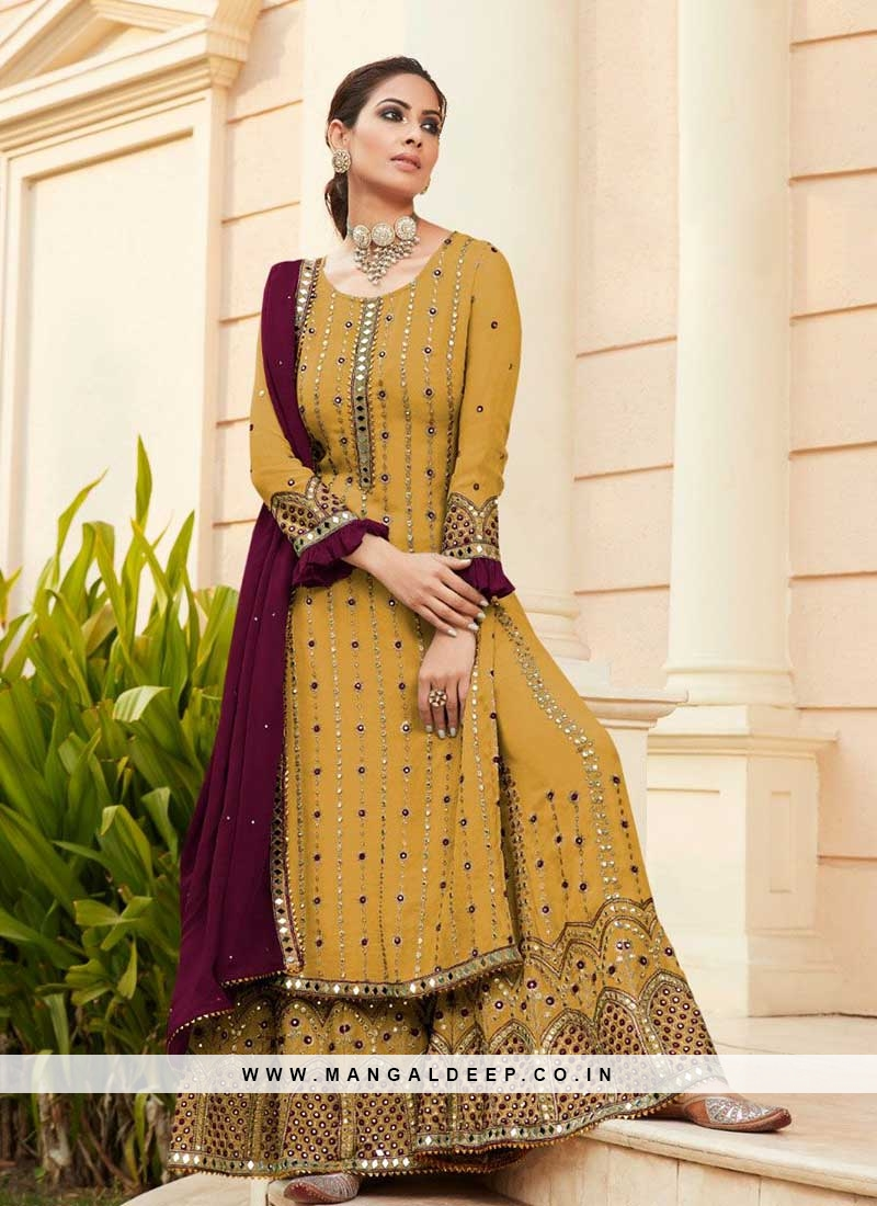 Yellow Color Georgette Latest Sharara Suit