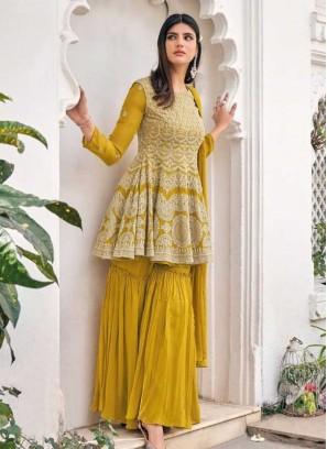 Yellow Color Georgette Sharara