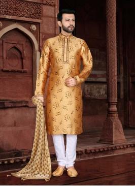 Yellow Color Jacquard Kurta Pajama