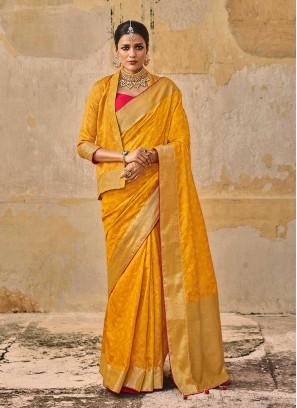 Yellow Color Jacquard Silk Latest Saree