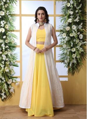 Yellow Color Lehenga With Long Jacket