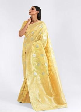 Yellow Color Linen Amazing Saree