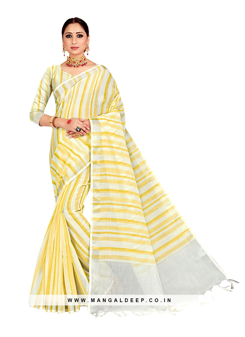 Yellow Color Linen Latest Design Saree
