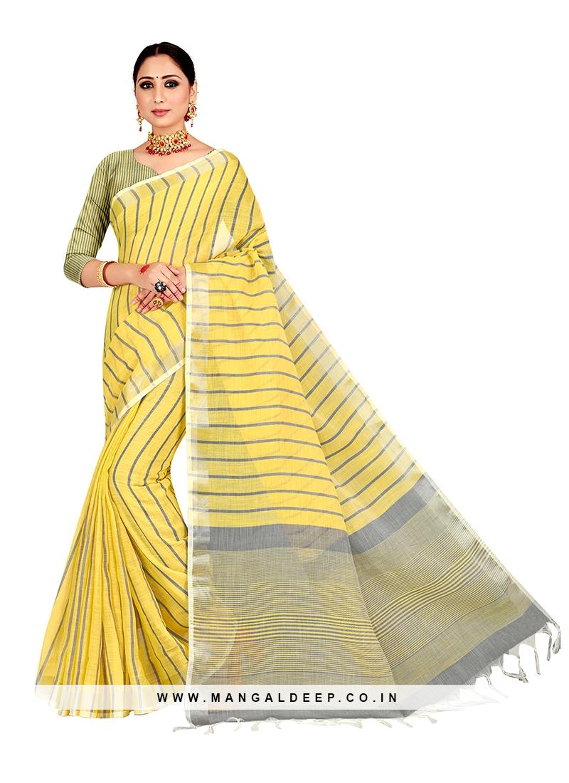 Yellow Color Linen Saree For Women