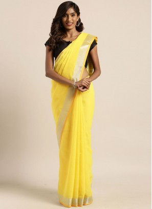 Yellow Color Linen Silk Latest Design Saree